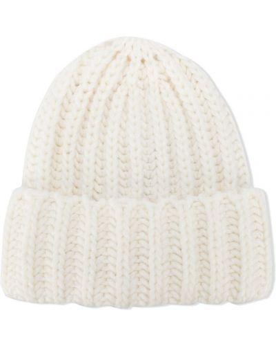 Prążkowana biała czapka wełniana Woolrich Kids