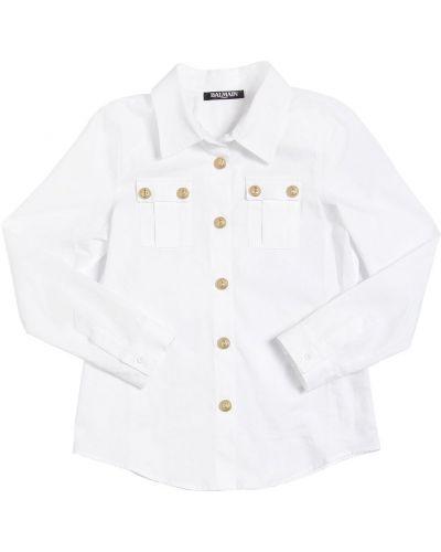 Белая классическая рубашка с воротником с манжетами Balmain