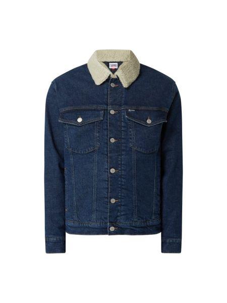 Niebieski kurtka jeansowa z mankietami z kieszeniami z kołnierzem Tommy Jeans
