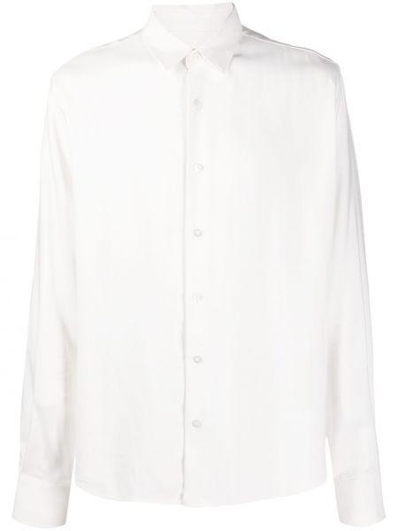 Biała klasyczna koszula z długimi rękawami z wiskozy Ami