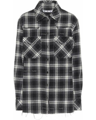 Ватная хлопковая черная рубашка Off-white