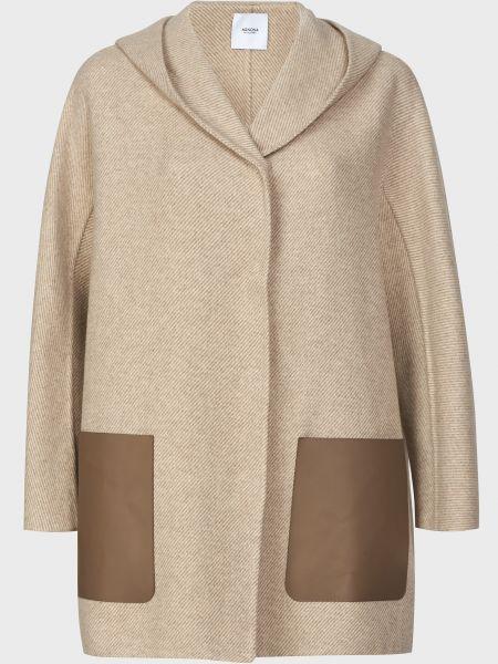 Бежевое кашемировое пальто на кнопках Agnona
