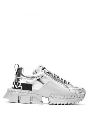 Кожаные кроссовки - серебряные Dolce & Gabbana