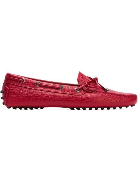 Красные кожаные мокасины Tods