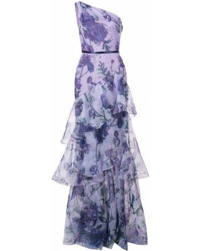 Платье с поясом на одно плечо с цветочным принтом Marchesa Notte