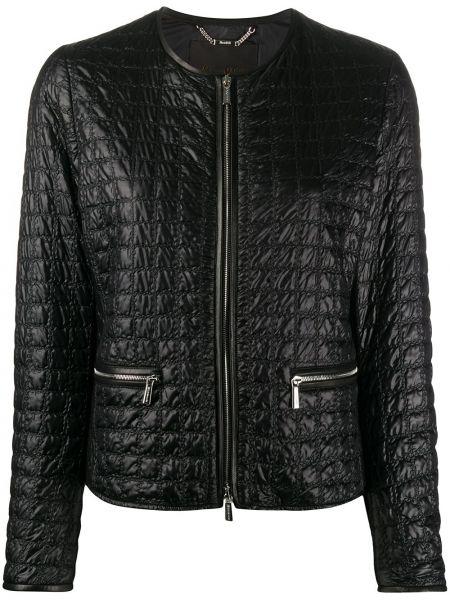 Прямая черная стеганая куртка на молнии с карманами Moorer