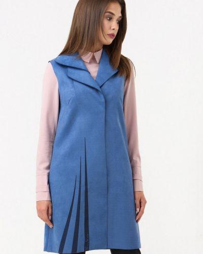 Кожаная жилетка - голубая Ricamare
