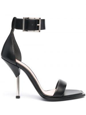 Czarne sandały skorzane klamry Alexander Mcqueen