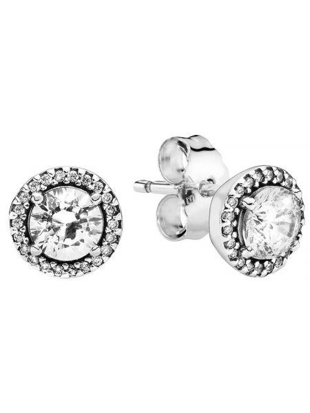 С цирконием серебряные серебряные серьги Pandora