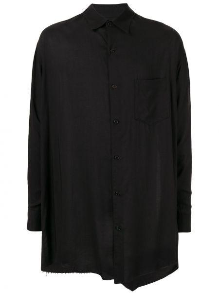 Czarna koszula z długimi rękawami asymetryczna Sulvam
