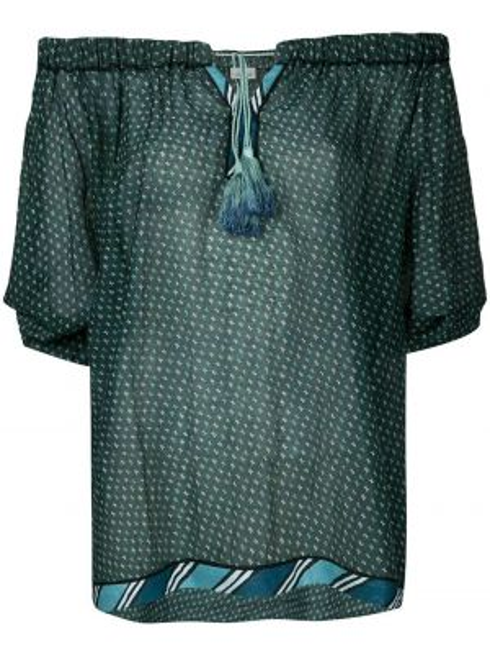 Синий шелковый топ с открытыми плечами с завязками Talitha