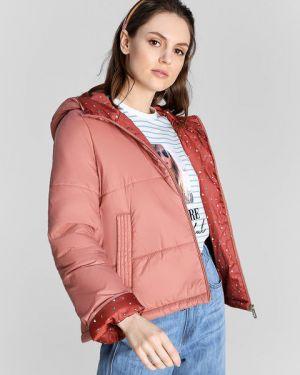 Розовая нейлоновая куртка с капюшоном с рисунком на молнии Ostin