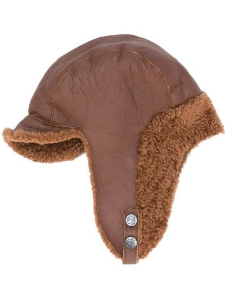 Brązowy kapelusz skórzany Simonetta Ravizza