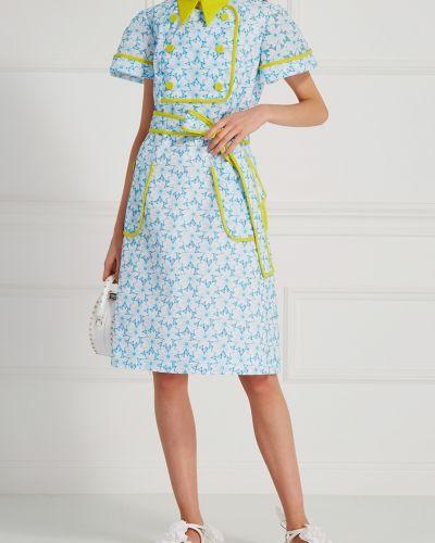 Платье мини с цветочным принтом со вставками Delpozo
