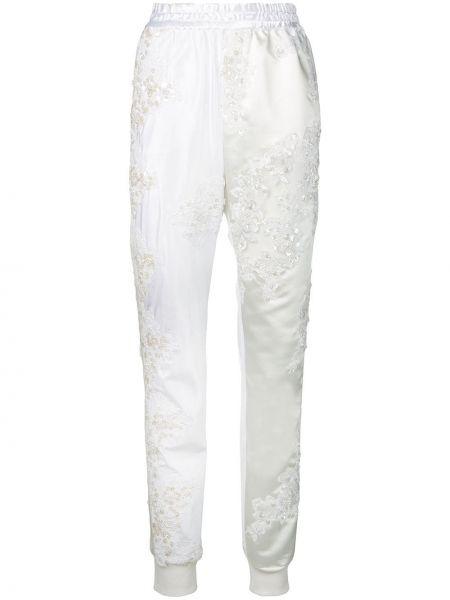 Шелковые спортивные брюки с вышивкой с поясом узкого кроя A.f.vandevorst