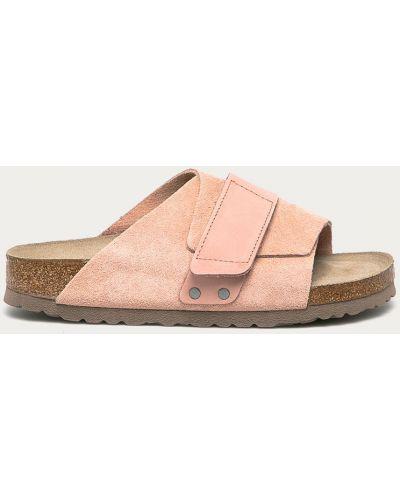 Różowe sandały skorzane na obcasie Birkenstock