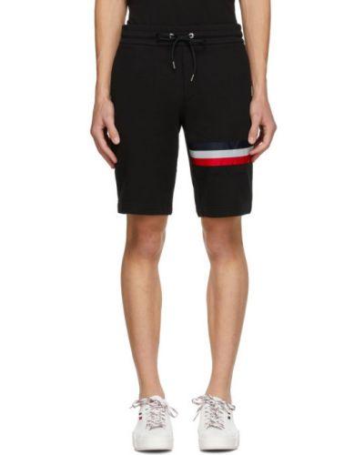 Черные шорты в полоску с карманами Moncler