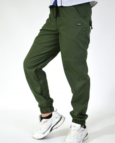 Хлопковые спортивные брюки на резинке хаки тм Polin Line