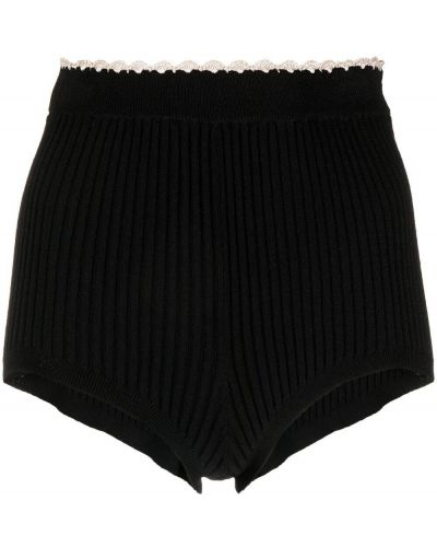 С завышенной талией вязаные черные шорты Sandro Paris