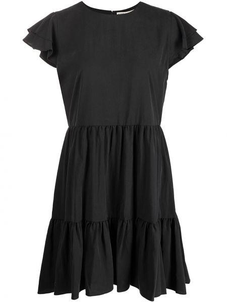 Льняное черное платье с короткими рукавами Alice+olivia
