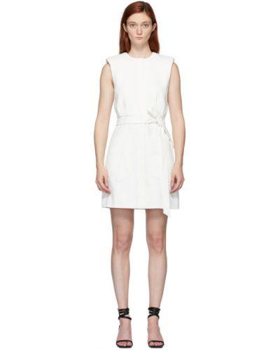 Biały sukienka mini z kołnierzem z łatami rozciągać Tibi