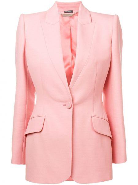 Однобортный розовый удлиненный пиджак с карманами Alexander Mcqueen