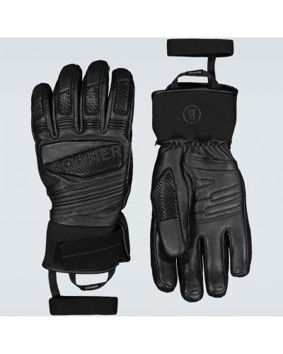 Ciepłe czarne wysoki rękawiczki skorzane Bogner