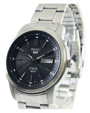 Часы механические водонепроницаемые с черным циферблатом Seiko