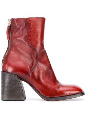 Brązowy buty na pięcie z prawdziwej skóry kwadratowy plac Moma