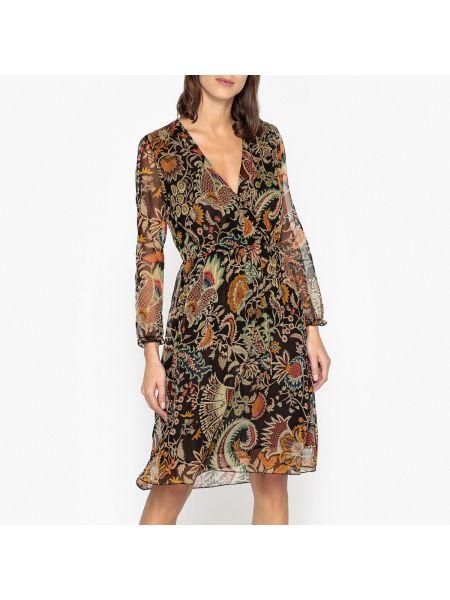 Платье миди с запахом с воротником с рисунком с длинными рукавами Hartford