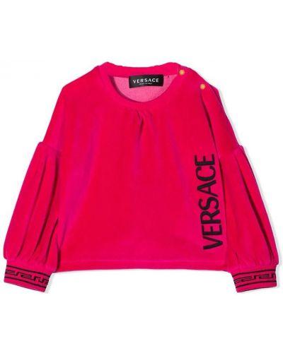 Z rękawami bluzka z dekoltem z haftem Versace