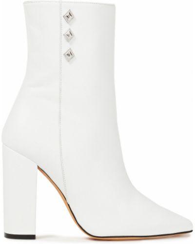 Białe ankle boots skorzane na obcasie Iro
