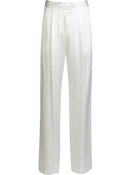 Белые шелковые свободные брюки свободного кроя с высокой посадкой Michelle Mason