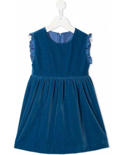 Синее бархатное платье с оборками без рукавов Siola