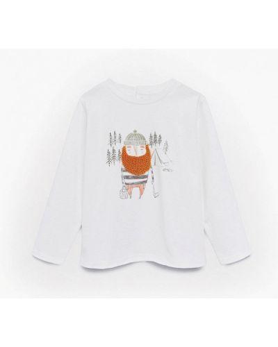 С рукавами белая футболка Mango Kids
