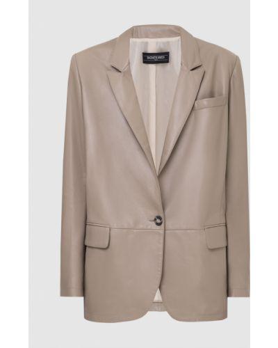 Бежевый кожаный пиджак Simonetta Ravizza
