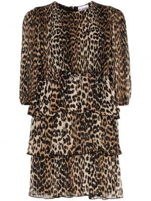 Платье мини леопардовое на молнии Ganni