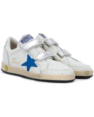 Золотистые кожаные белые кроссовки Golden Goose Kids
