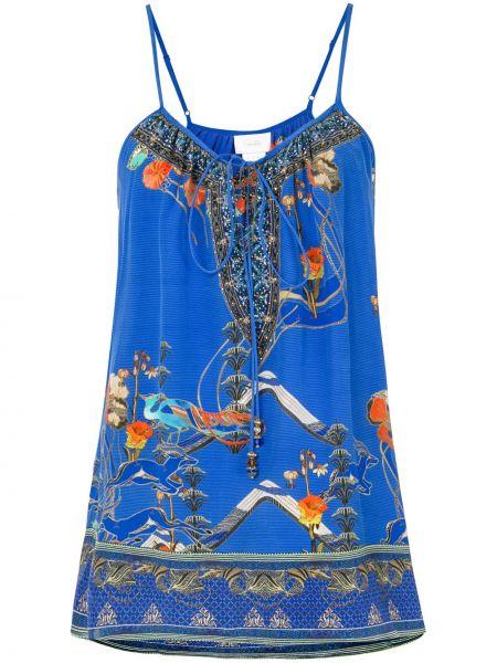 Синий шелковый топ с завязками с круглым вырезом Camilla