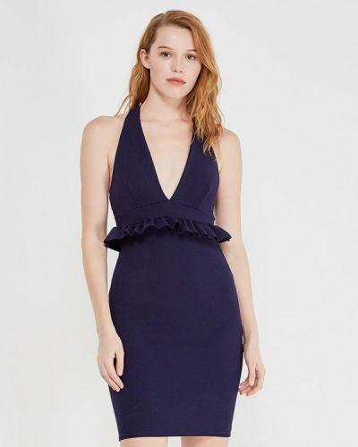Синее вечернее вечернее платье с опушкой Edge Street