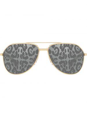 Золотистые желтые солнцезащитные очки металлические Dolce & Gabbana Eyewear