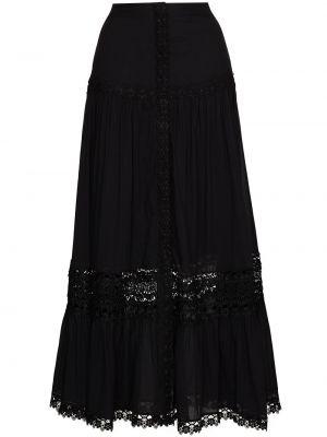 Czarna spódnica z wysokim stanem z haftem Charo Ruiz Ibiza