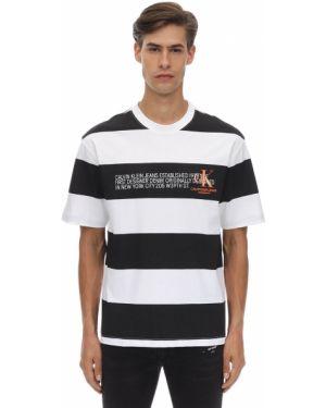 Czarny t-shirt w paski bawełniany Calvin Klein Established 1978