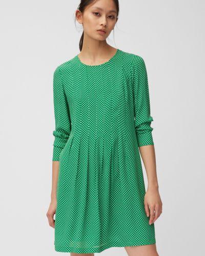 Зеленое расклешенное платье миди с V-образным вырезом с воротником Marc O`polo