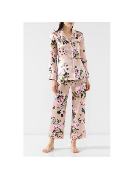 Пижама атласная с цветочным принтом Olivia Von Halle