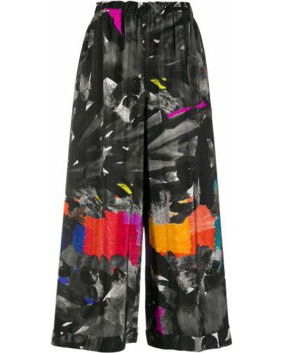 Шелковые черные свободные брюки с поясом свободного кроя Daniela Gregis
