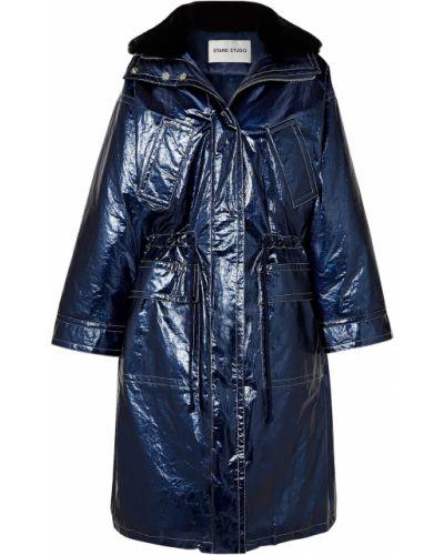Синее кожаное пальто с воротником Stand Studio