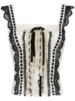 Черная ажурная прямая блузка без рукавов на шнуровке Martha Medeiros