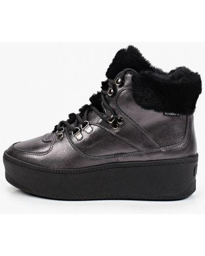 Черные кожаные высокие кроссовки Roobins