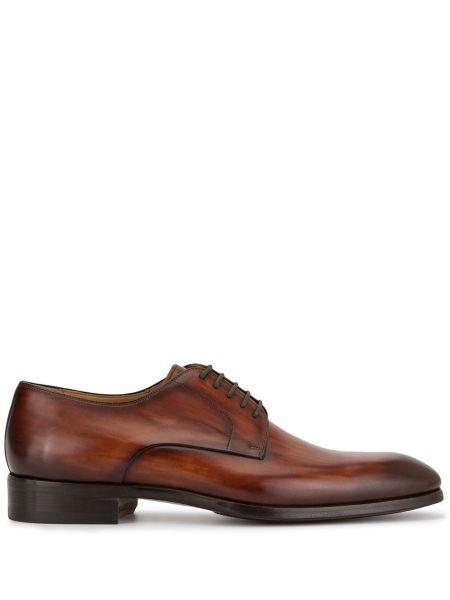 Коричневые классические классические туфли на каблуке на шнурках Magnanni